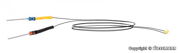 LED warmweiß mit angelöteten Kabeln, 5 Stück