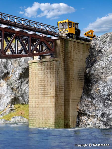 H0 Universal-Brückenköpfe gemauert, 2 Stück