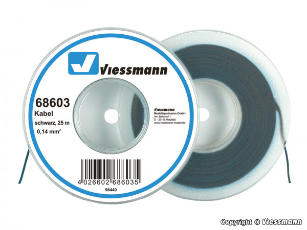 Kabel auf Abrollspule 0,14 mm², schwarz, 25 m