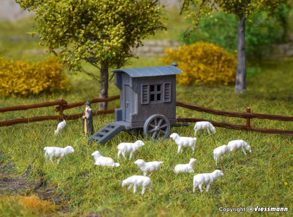 N Schäferwagen mit Schafherde