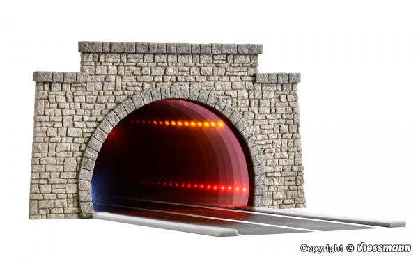 H0 Straßentunnel klassisch, mit LED Spiegeleffekt