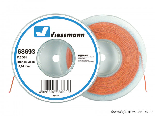 Kabel auf Abrollspule 0,14 mm², orange, 25 m