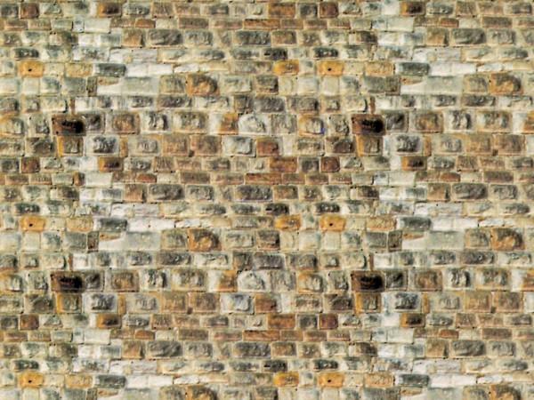 N Mauerplatte Sandstein aus Karton, 25 x 12,5 cm,