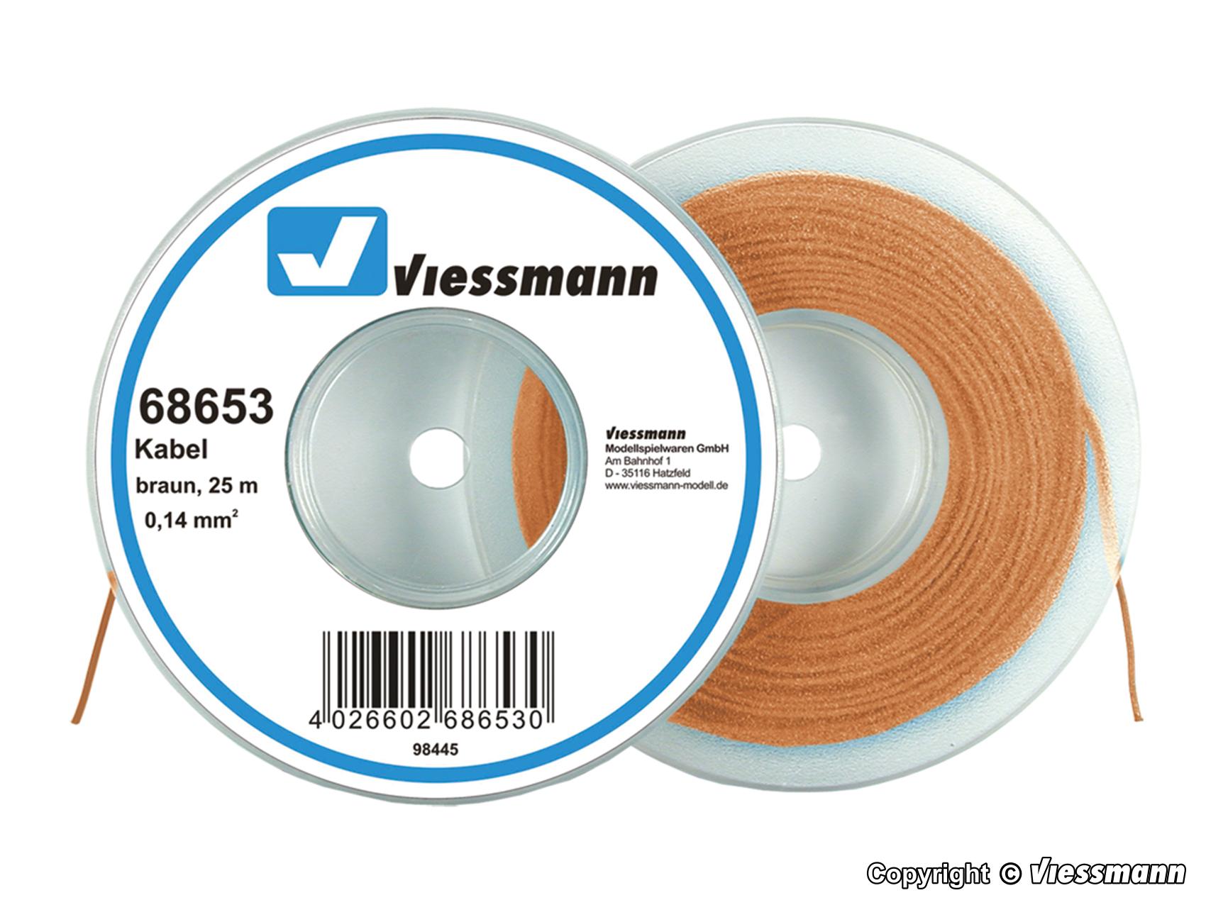 Viessmann 68653 cable en abrollspule 0,14 QMM Braun 25 M