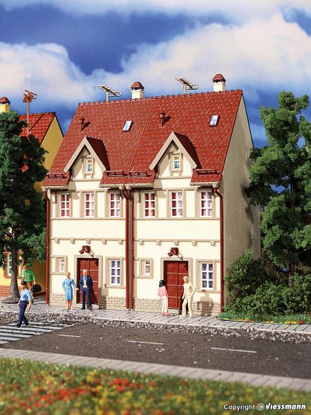 H0 Reihen-Doppelhaus, beige