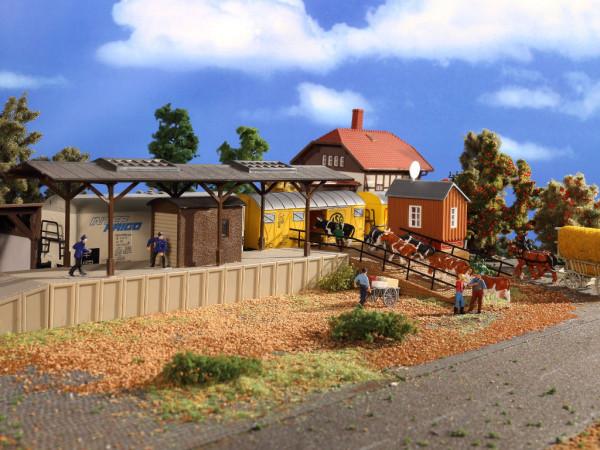 H0 Bahnsteig mit Verladerampe und Nebengebäude