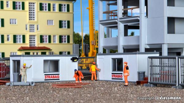 H0 Gebäude-Container STRABAG mit LED-Beleuchtung
