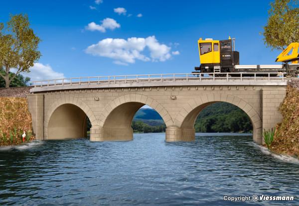 H0 Steinbogenbrücke mit Eisbrecherpfeilern