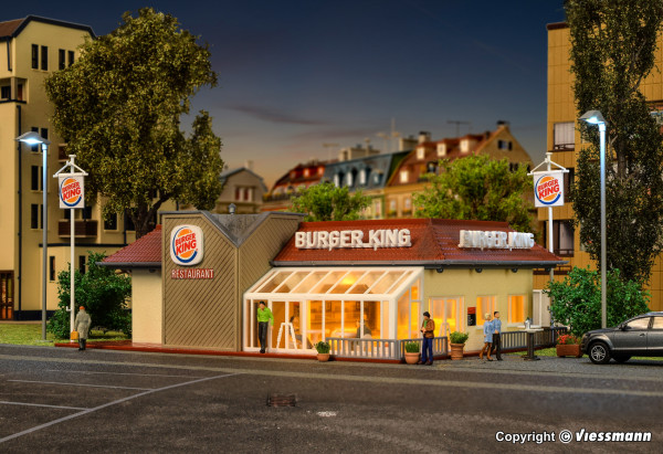 H0 Burger King Schnellrestaurant mit Innen-