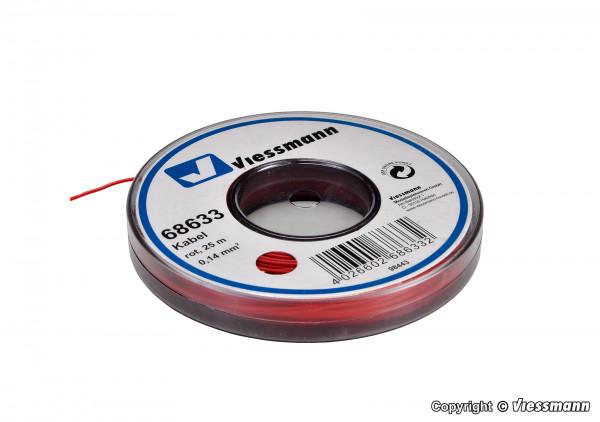 Kabel auf Abrollspule 0,14 mm², rot, 25 m