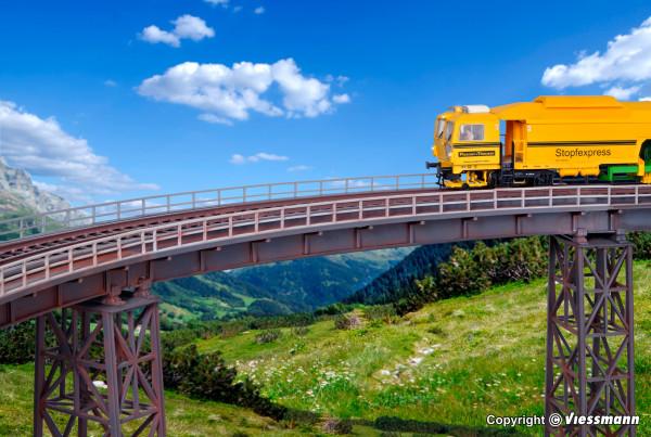 H0 Stahlträgerbrücke gebogen, eingleisig