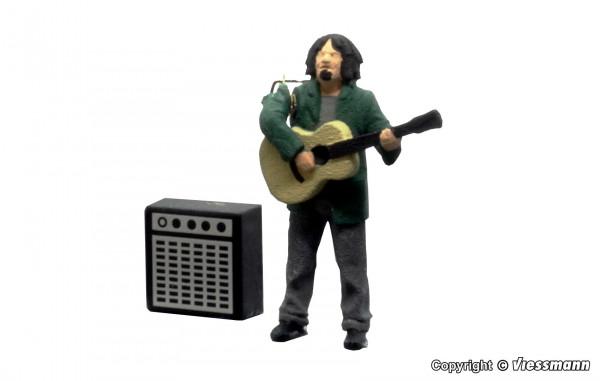 H0 Straßengitarrist mit Verstärker, bewegt