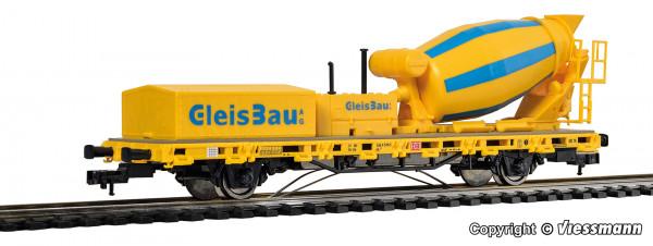 H0 Niederbordwagen mit Betonmischer GleisBau, Funktionsmodell für Dreileitersysteme