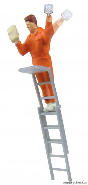 H0 Plakatkleber auf Leiter, bewegt