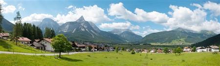 Hintergrundkulisse Alpenvorland, vierteilig,