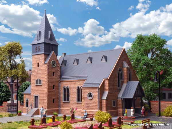 H0 Kirche mit Mauer aus dem Westerwald