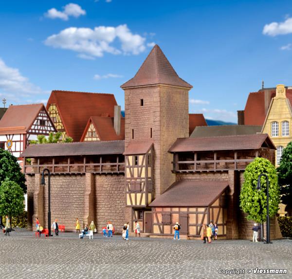 N Wehrturm mit Mauer in Rothenburg