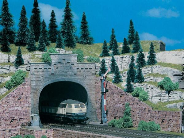 N Tunnelportal mit Aufsatz, zweigleisig, 2 Stück