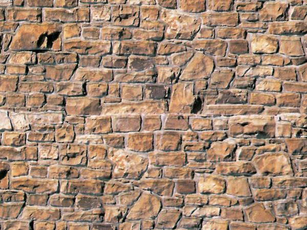 H0 Mauerplatte Mauerstein beige-braun aus Karton,