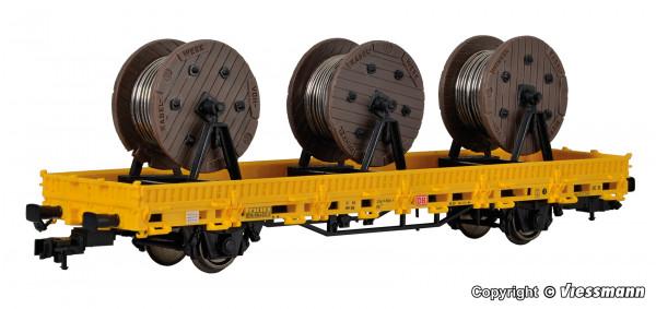 H0 Niederbordwagen mit 3 Kabelrollen GleisBau,