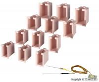 Hausbeleuchtungs-Startset, 12 Boxen, 4 verschiedene Größen, 1 LED weiß