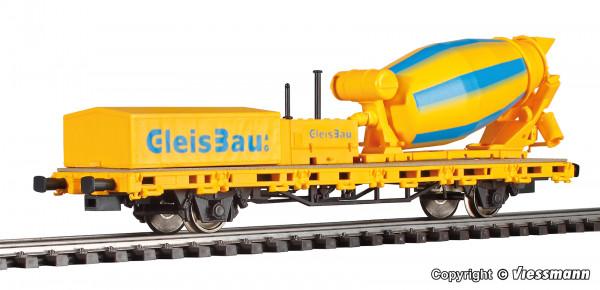 H0 Niederbordwagen mit Betonmischer GleisBau, Funktionsmodell für Zweileitersysteme