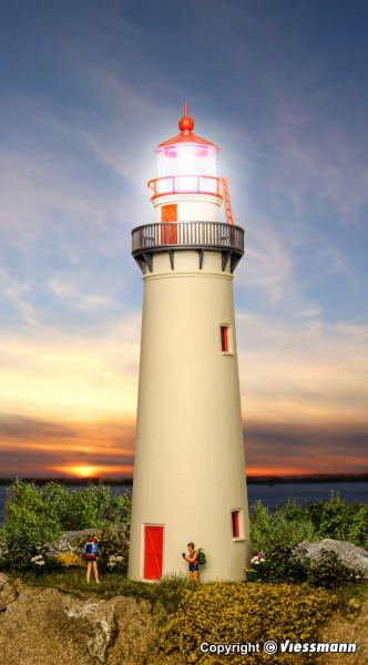 H0 Leuchtturm mit LED-Leuchtfeuer,