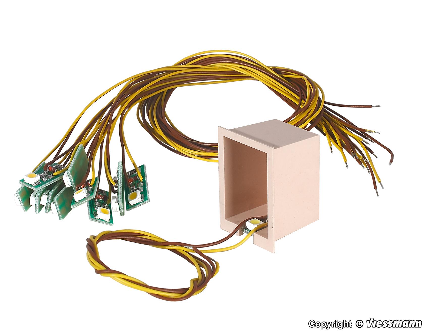 H0 weiss 10 Stück Viessmann 6006 Hausbeleuchtung mit 1 LED