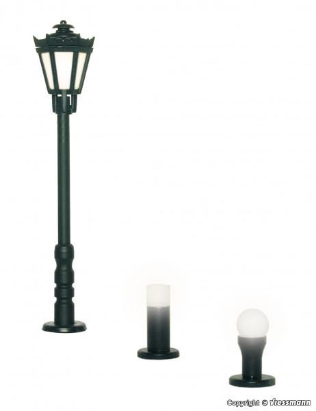 H0 Gartenleuchten-Set, 3 Leuchten, schwarz