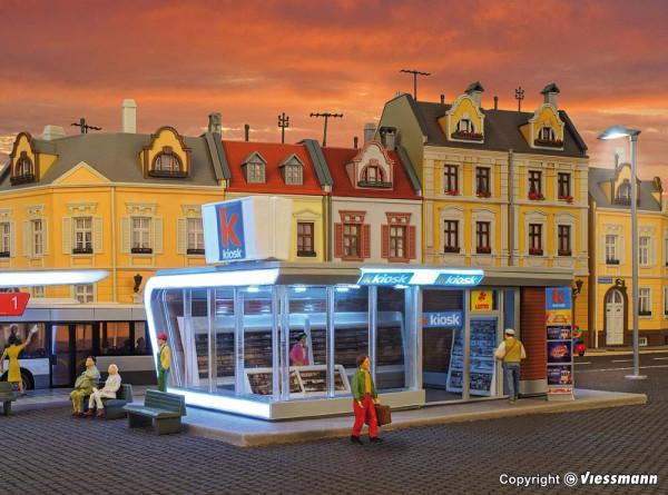 H0 Moderner Kiosk inkl. LED-Beleuchtung